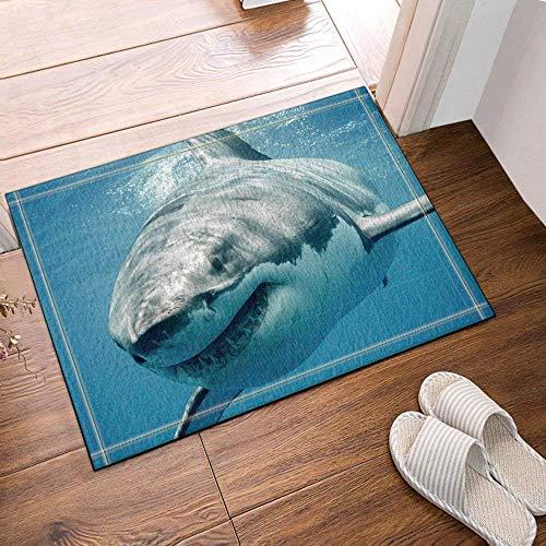 ZZ7379SL En The Hustle and Bustle of The Ocean, un tiburón se precipita a la Presa para revelar el Deseo de Presa.Alfombra de baño de Sala de Estar con Cocina Impresa en 3D