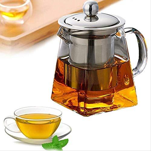 Hittebestendig glas theepot met roestvrij stalen infuser verwarmde theepot goed doorzichtig kettle vierkante filter Baskets950ml
