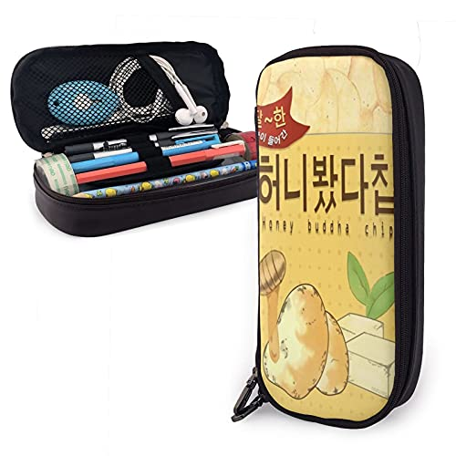 Mystic Messenger Honey Buddha Chip Big Capacity Pen Case Leather Pencil Case Durable Pen Pouch Desk Organizer with Zipper for School & Office Supplies