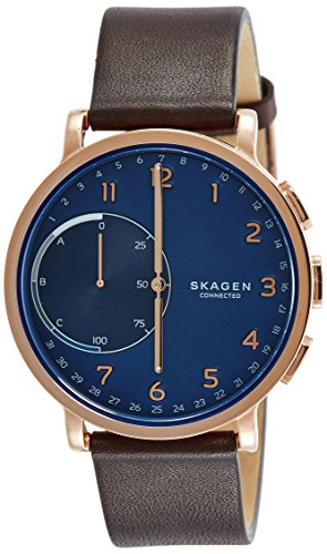 Skagen Connected Men's Hagen Stainless Steel and Leather Hybrid Smartwatch, Color: Rose Gold-Tone, Dark Brown (Model: SKT1103)