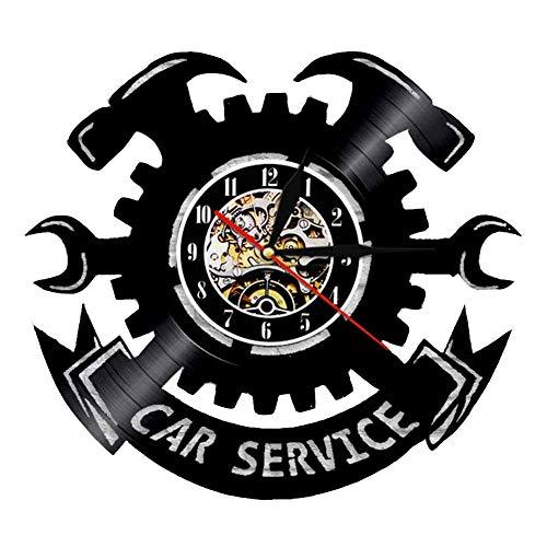 CHENG Reloj De Pared De Vinilo Car Service Hammer Bar Inicio Decoración De Pared Relojes De Pared De Registro,Black,30CM