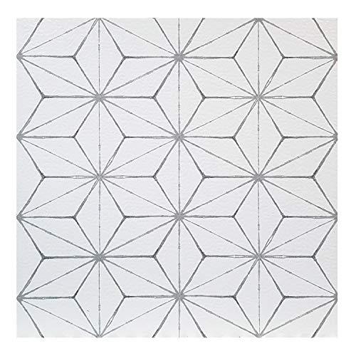 FloorPops kikko - Lote de 10 baldosas de vinilo autoadhesivas para suelo, color blanco y gris