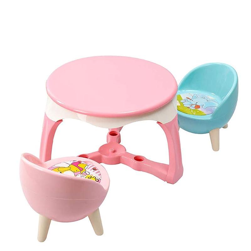 くちばしピルファーミュージカル幼児のための2つの椅子、活動的なテーブルおよび楽しい音が付いている柔らかい座席、家の子供のテーブルおよび椅子セットが付いている子供のプラスチック丸テーブル