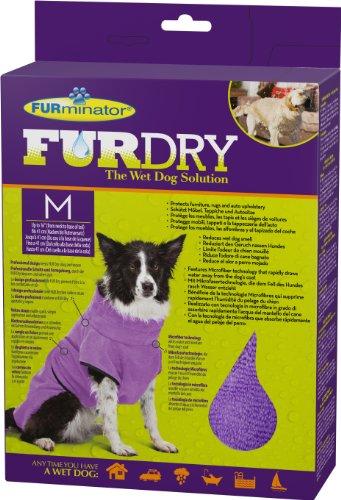 FURminator FUR Dry Hundehandtuch (mittelgroß, bis 41 cm Körperlänge, lila)