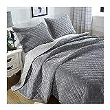 Cubre cama 2 personas Boutis acolchada de lujo cubre la cama de peluche lavable, la parte superior de las camas y las colchas grises, el juego de ropa de cama con 2 pillowcasas,224*234cm/51×71cm
