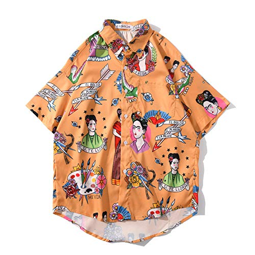 Camisa de Manga Corta para Hombre, Camisa Holgada de Manga Corta con Tendencia Hawaiana, Camisa Informal de Playa con Estampado de Personalidad Retro S