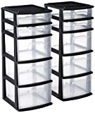 HOMZ Plastic 5 Drawer Medium Storage Tower, Black Frame, Clear Drawers, Set of 2