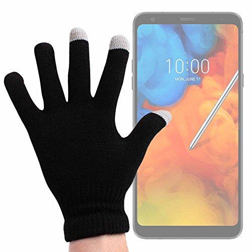DURAGADGET Guantes Negros para Pantalla Táctil para Smartphone ASUS ROG Phone, Motorola Moto Z3 Play, LG Q Stylus - Talla Mediana - ¡Ideales para El Invierno!