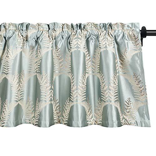 VOGOL Window Valances Jacquard Spring Leaves Elegant Curtains Valance for Bedroom, Top Pocket Vintage Small Elegent Curtains for Living Room, One Panel, Light Green, 52x18 Inch