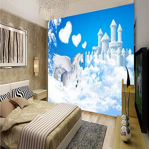 Sijoo Fototapete, Kinderzimmer, Pegasus Fantasy Castle 3D Wandbild Hintergrund Wand hochwertige Wohnzimmer Wand Bad Tapete, Kinderzimmer, Wandbild