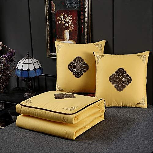 Manta de viaje y almohada Almohada de algodón bordado edredón de doble uso de la Oficina almuerzo edredón del amortiguador de la rotura de algodón Equipaje de mano ( Color : Yellow , Size : 50x50cm )