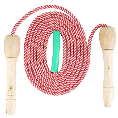 Verstellbare Springseil für Kinder, Springen Seil mit Cartoon Holzgriff und Baumwollseil, Seilspringen Fitness, Springseil Damen, Speed Rope Springseil, Outdoor Springseil für Kinder/Herren/Damen
