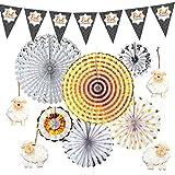 Rocking Party Eid al-Adha/Bakra/Kurban Bayram: banderines estampados, abanicos de concertina plateados y dorados + juego de decoración de ovejas de madera