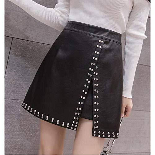 LJLLINGA Falda Corta de Cuero Negra para Mujer Otoño Invierno Moda Vintage Cintura Alta Casual PU Falda Acampanada con Lazo Femenino