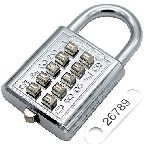 Minion roestvrijstalen hangslot 10-cijferige knop combinatie wachtwoordslot, zonder sleutel voor Gym sportveld Locker kamer opslag kamer anti-diefstal