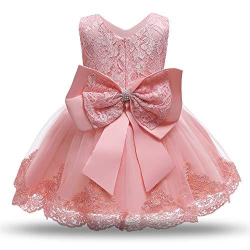 NNJXD Baby Mädchen Spitzenkleid Bowknot Blumenkleider Hochzeitswettbewerb Taufe Taufe Tutu Kleid Größe (100) 2-3 Jahre 648 Hellrosa-C
