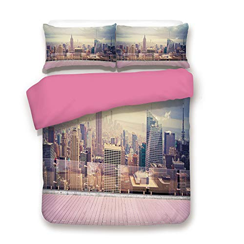 Modern Decor Duvet Cover Set New York City Usa Landscape from Roof Apartment Balcony Photo Image Bedding Set with 2 Pillow case King,Best Gift For Girls Mom Girlfriend Daughter Grey White and Pink