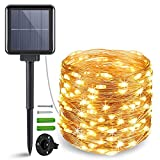 ANJAYLIA Solar String Lights Outdoor, 200 LED Fairy Lights Solar Powered with 8 Modes Waterproof Decorative Copper Wire Lights for Patio Garden Yard Trees Christmas Wedding Party, Warm White