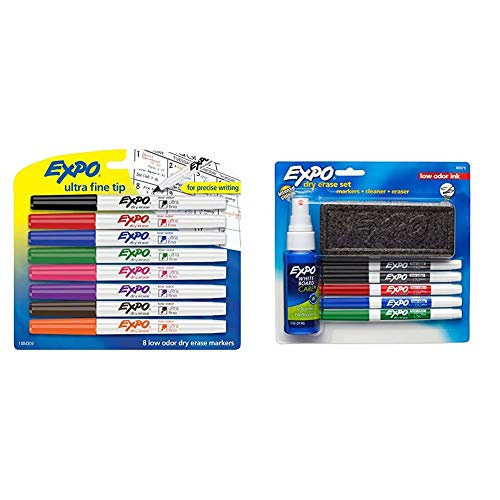EXPO 1884309 Low-Odor Dry Erase Markers, Ultra Fine Tip, Assorted Colors, 8-Count & 80675 EXPO Low-Odor Dry Erase Set, Fine Point, Assorted Colors, 7-Piece with Cleaner