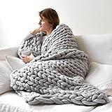 QinKingstore 暖かい太い線を保つジャイアントヤーンニット毛布手作り手織り写真の小道具毛布