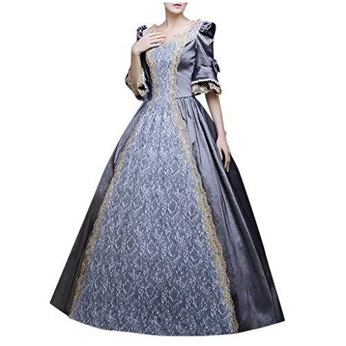 Lazzboy Kostüm Kleid Damen Gothic Retro Court Princess Halbarm Mittelalter Party Kostüme Kleid Ballkleid Renaissance Partykleid Maxikleid Cosplay Bodenlänge(Grau,L)