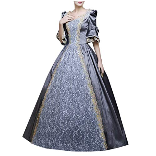 Dasongff dames lange mouwen renaissance middeleeuwse jurk Victoriaans koningin kostuum maxi-jurk rococo jurk Gothic Lolita kostuum feestelijk cosplay prinses kant jurk Large grijs
