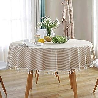 مفرش طاولة مخطط مقاوم للغبار ديكور للمنزل غطاء طاولة قطني كتان طاولة طعام دائرية لغرفة المعيشة طاولة قماش قطر 120 سم خطوط بيج