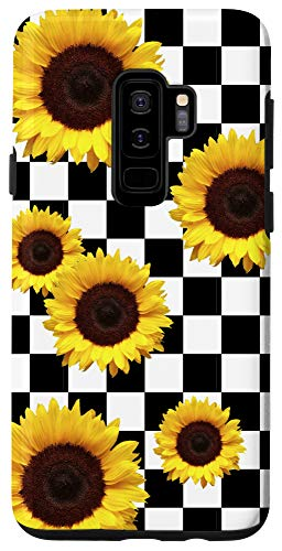 Galaxy S9+ Sunflower Checkered Checkerboard Black and White Girly Phone Case
