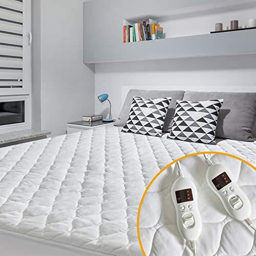 MAKATZ Heated Mattress Pad Queen Size, Quilted Electric Mattress Pad with 8 Heat Setting Controllers