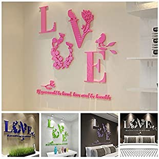 ohofy 3D DIY Mirror Wall Stickers Love Flower Art Quote Decal Home Kitchen Bathroom Decor Black
