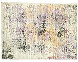 Alfombra moderna de seda de bambú, 160 x 230 cm, tejida a mano, color lila y rosa