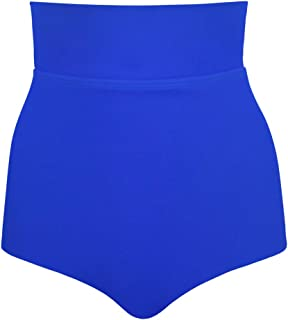 JINXUEER Women's Plus Size High Waisted Bikini Tankini Swimsuit Bottoms Shape Control Folding Bathing Suit Brief