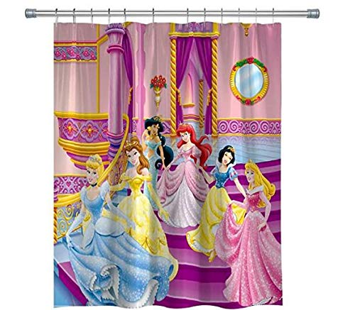 RENPTA DuschvorhangCartoon Prinzessin Mädchen Duschvorhänge Wasserdicht mit Haken Set Badezimmer Haus Für Mädchen Jungen Geschenke