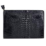 Mily Fashion Crocodile Pattern Oversize Leather Envelope Clutch Ladies Portfolio Evening Handbag Black