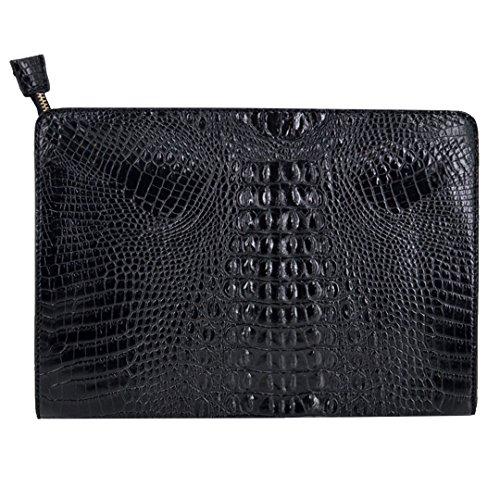 Van Caro Übergroße Clutch-Handtasche aus Leder in Krokodil-Optik für Damen, Schwarz (schwarz), Einheitsgröße