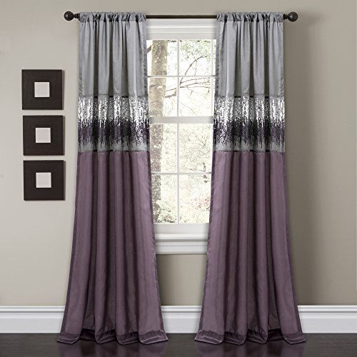 Lush Decor Night Sky Curtain Panel for Living, Dining Bedroom (Single), 84' x 42', Purple and Gray