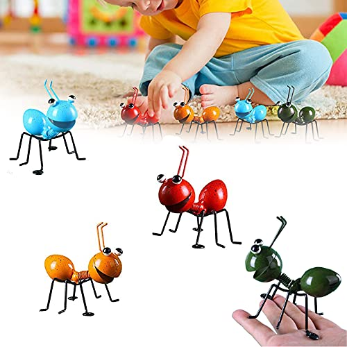 UKETO Iron Art Ant Ornament,Metal Ant Wall Decor, 4 Pcs Ant Yard Art Metal Ant Garden Art Outdoor Decoration Yellow Ant Indoor Wall Decor Sculptures Yard Patio Lawn Cute Ornament