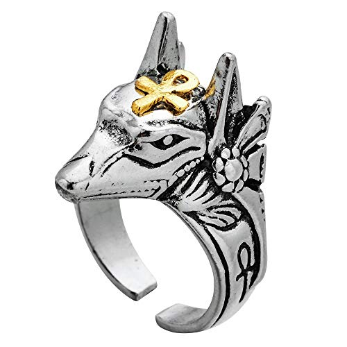 Punk Egyptian Cross Beast Anubis Knuckle Rings For Women Men Open Adjustable Wolf Head Finger Ring Vintage Statement Jewelry