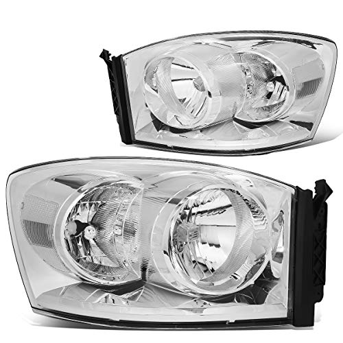 OE Style Headlights Assembly Compatible with Dodge Ram 1500 2500 3500 06-09, Driver and Passenger Side, Chrome Housing Clear Lens
