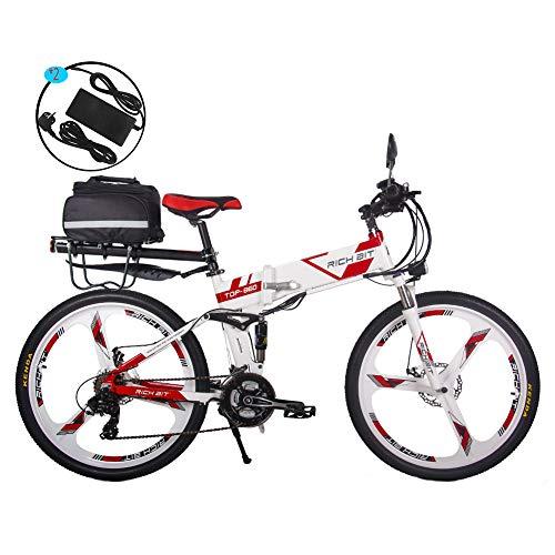 RICH BIT Bicicleta Eléctrica 250W Bicicleta Plegable de Montaña LG Li Batería 36V * 12.8 Ah Smart eBike 26 Pulgadas MTB RT-860 (Rojo)