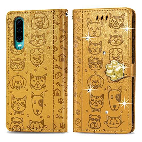 Oihxse Mignon Case Compatible pour iPhone 6/6S Coque Housse Étui Cuir PU Portefeuille avec Carte Fentes Fonction Stand Motif Chat et Chien Brillant Glitter Diamant Cover,Jaune