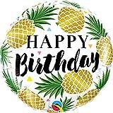 Qualatex 18' Birthday Golden Pineapple Foil Balloon, Multicolor