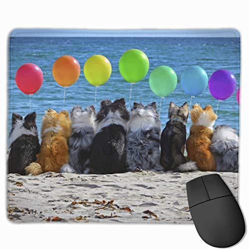 Not Applicable Perros y Globo Diseños únicos Antideslizantes Alfombrilla de ratón para Juegos Tela Negra Rectángulo Alfombrilla de ratón Alfombrilla de ratón de Goma Natural con Bordes cosidos