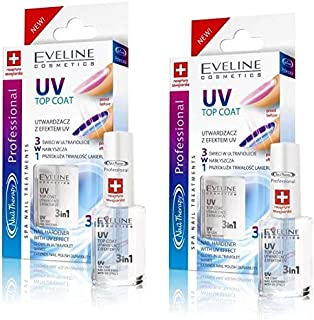 Set of 2 Eveline Cosmetics Nail Therapy UV Top Coat Nail Hardener 3 in 1