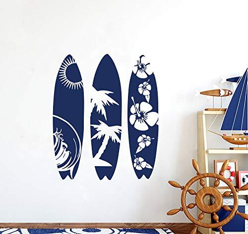 3 tablas de surf verano mar playa surf ola sol árbol de coco flor patrón tabla de surf vinilo pared pegatina coche tienda club tienda decoración mural
