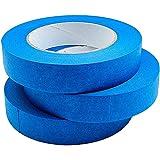 3 rollos de cinta adhesiva, 20 m de largo, 8 mm de ancho, cinta de papel texturizada, cinta adhesiva para pintores de pintura, manualidades y decoración (azul)