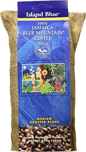 Island Blue 100% Jamaica Blue Mountain Whole Beans Coffee (16 Ounces)
