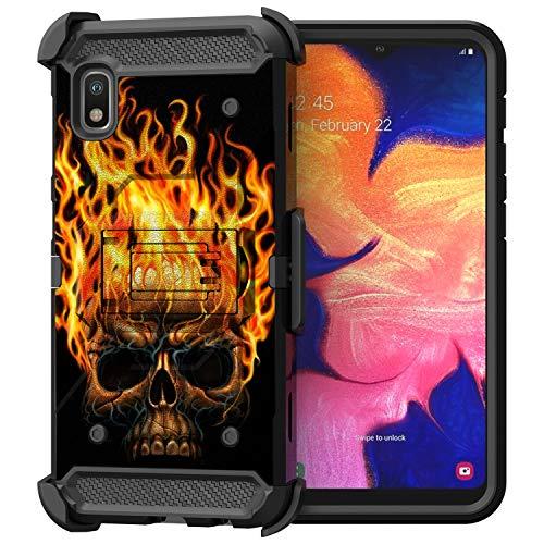 Untouchble SAMA102UTMCB01V4-SET03 Schutzhülle für Samsung Galaxy A10e / Samsung Galaxy A20e (strapazierfähig, Dreifach-Ständer), Totenkopf auf Feuer