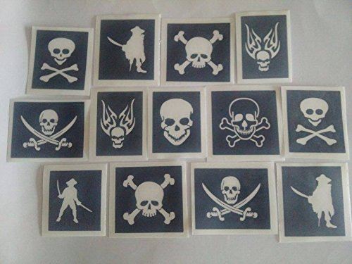 30 x Pirate & Skull Stencils for Glitter Tattoos / Airbrush / face Painting
