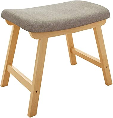 Simple Japanese Stool, Removable and Washable Shoes Stool ,Fabric Soft Bag Stackable Dining Chair Chair Foyer Bedroom Solid Wood Ottoman (Color : Gray, Size : S)